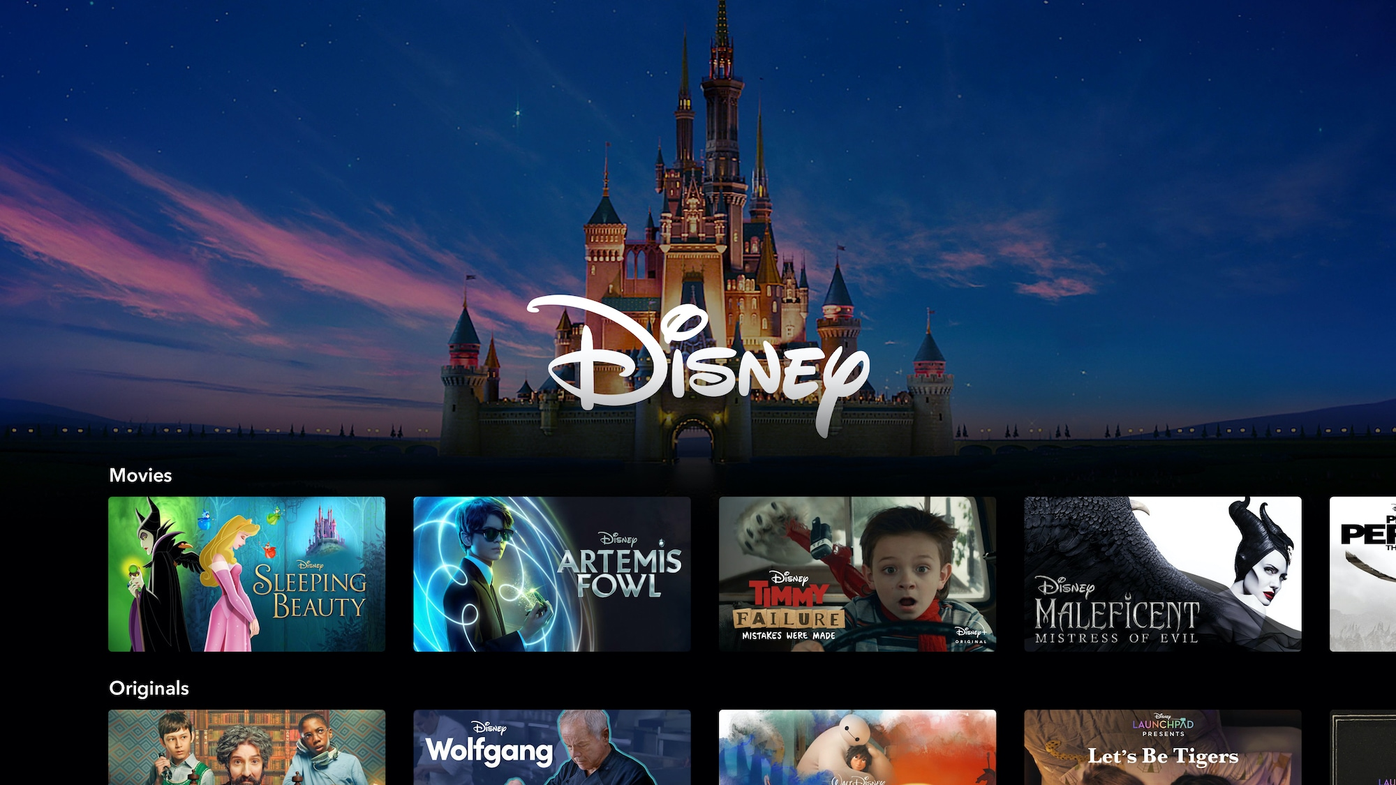 Disney+ Brand Landing Page on Connected TV