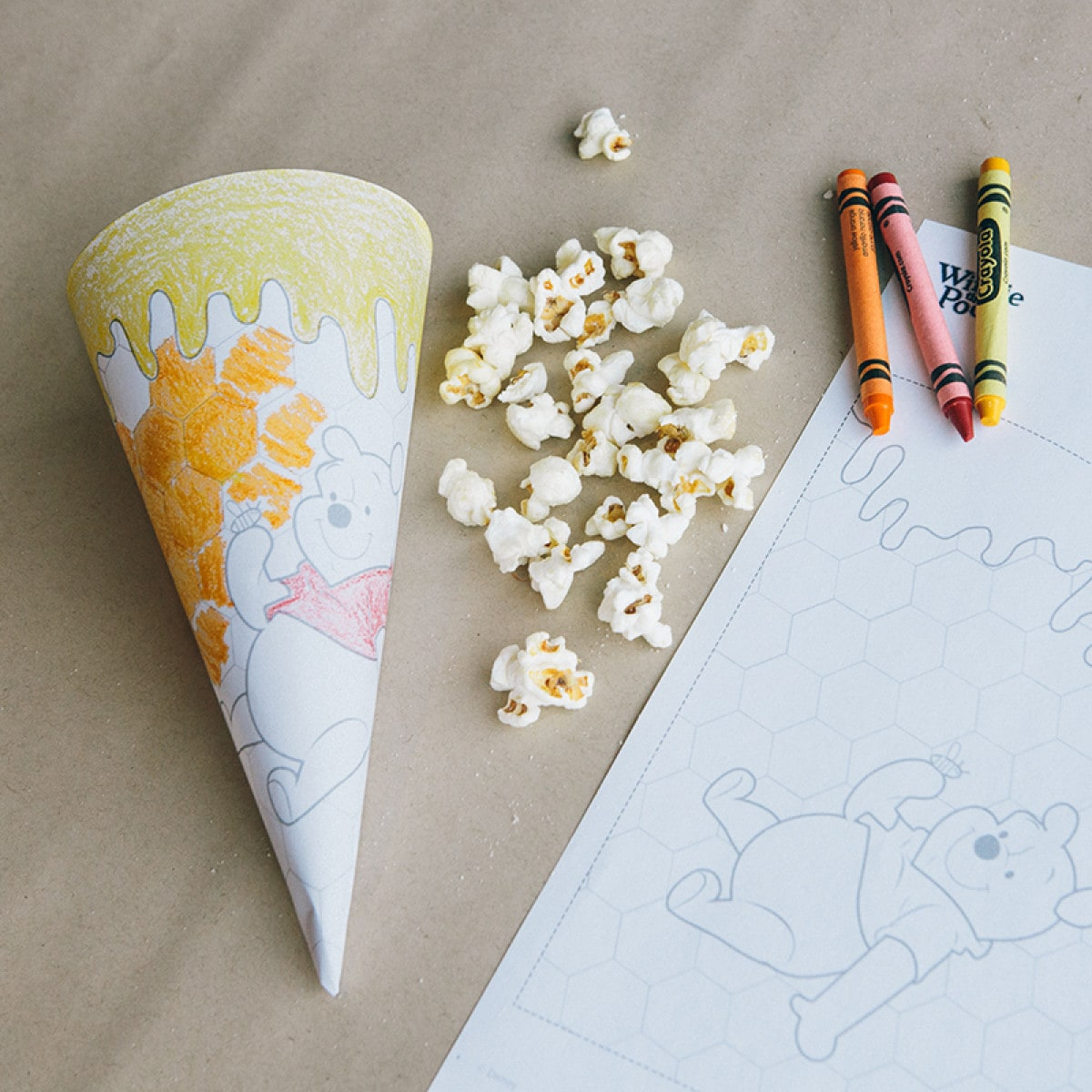 Craft: Colouring In Popcorn Cone