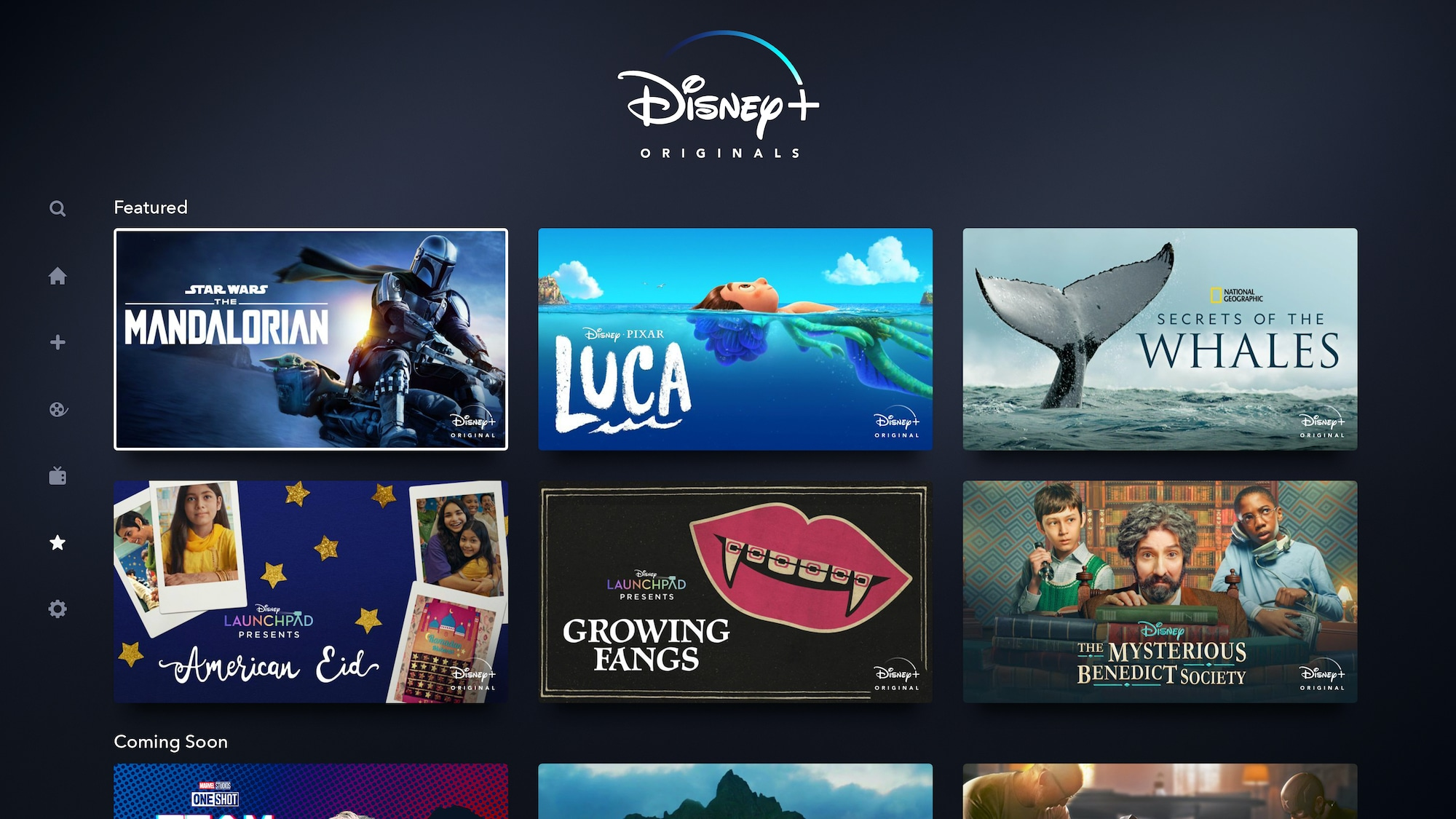 Disney+ Originals Page on Connected TV