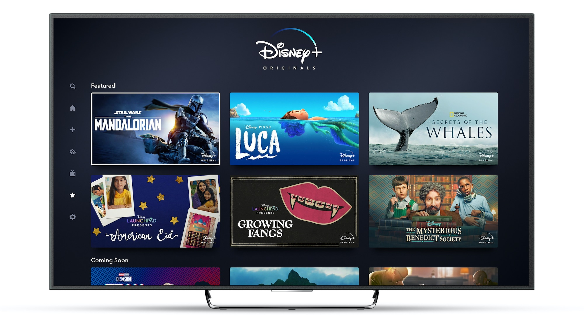 Disney+ Originals Page on Connected TV Device