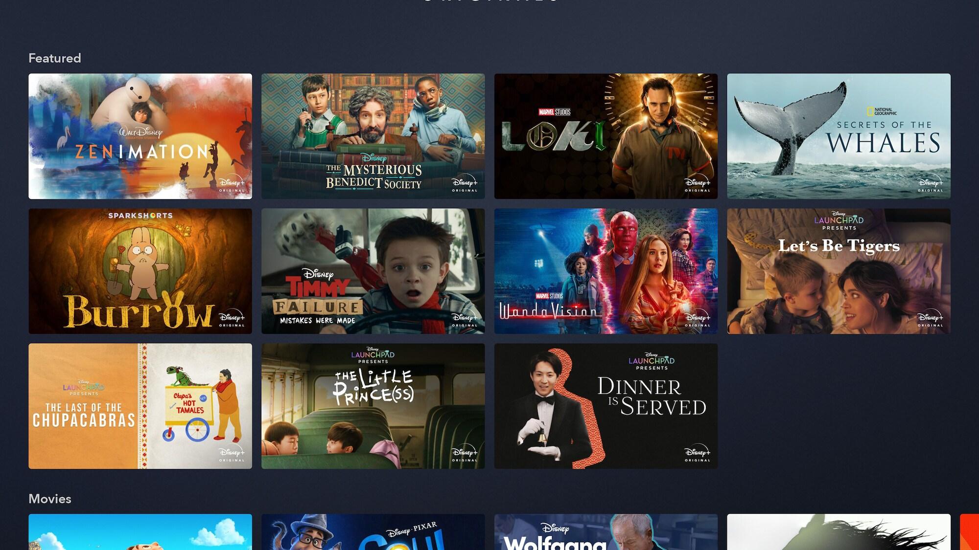 Disney+ Originals Page on Tablet