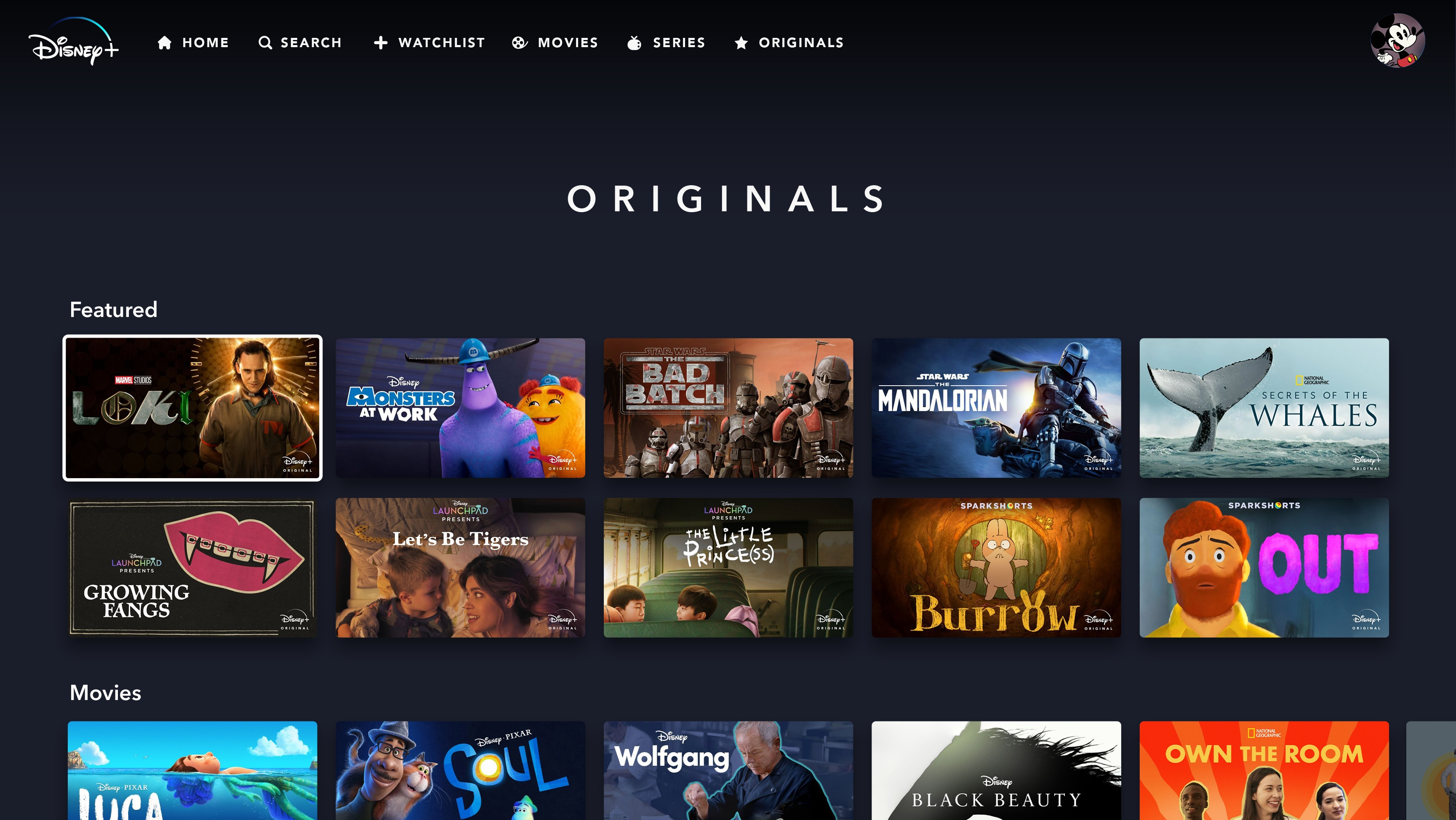 Disney+ Originals Page on Web