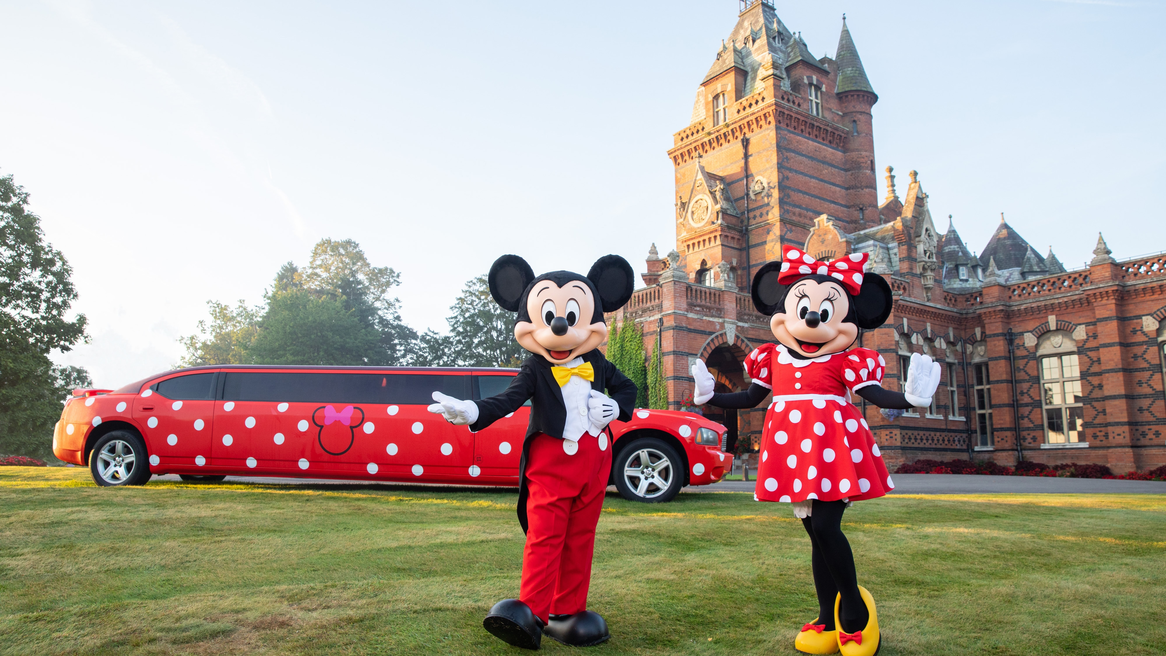 Minnie and Mickey Mouse outside the Elvetham Hotel