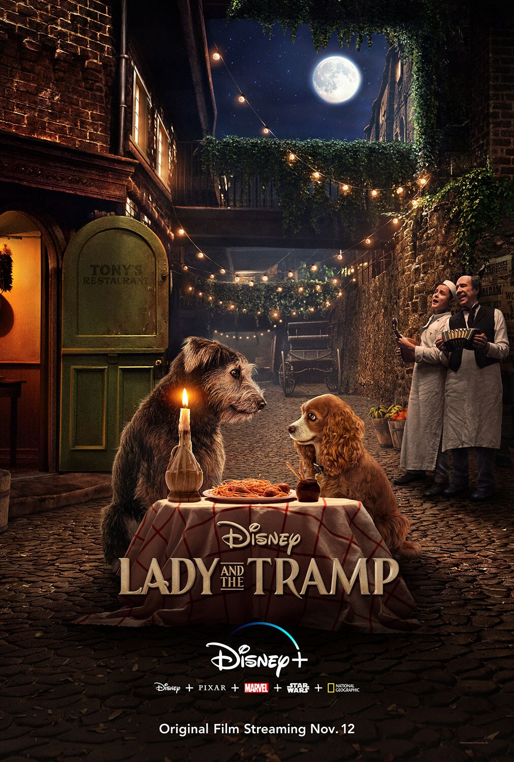 Tramp and Lady spaghetti dinner scene poster, Disney Lady and the Tramp on Disney Plus, Disney  plus Pixar plus Marvel plus Star Wars plus National Geographic. Original Film Streaming Nov 12.