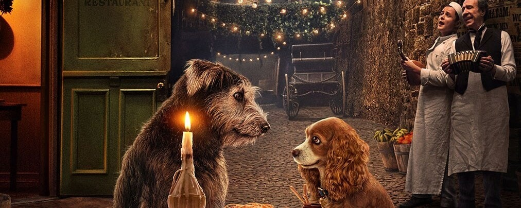 Tramp and Lady spaghetti dinner scene, Disney Lady and the Tramp poster Disney Plus, Disney plus Pixar plus Marvel plus Star Wars plus National Geographic, Original film Streaming Nov. 12