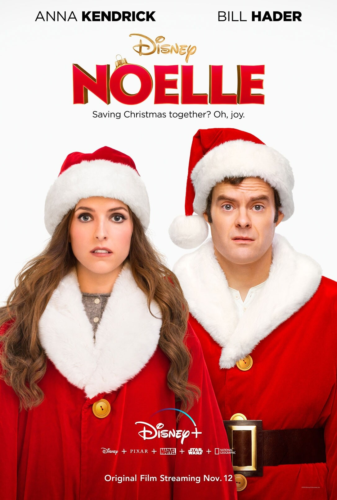 Anna Kendrick and Bill Hader in Noelle on Disney Plus, Disney plus Pixar plus Marvel plus Star Wars plus National Geographic, Original Film Streaming Nov. 12