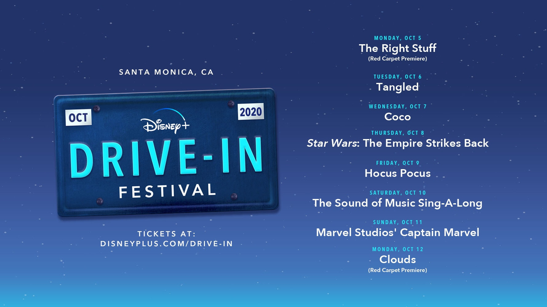 Rev Your Engines: The Disney+ Drive-in Festival Pulls Into Santa Monica October 5-12, 2020