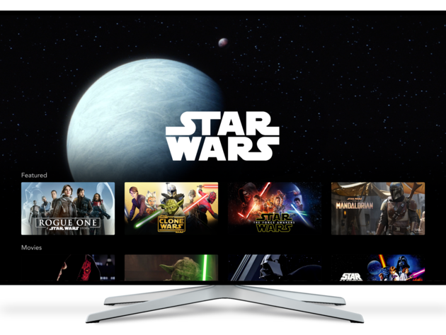 Disney+ Star Wars brand landing page on Connected TV