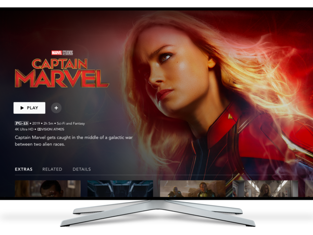 Disney+ title details page on Connected TV