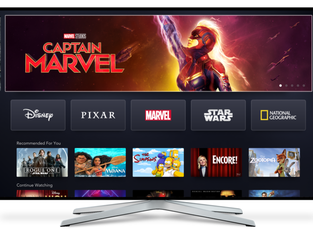 Disney+ home screen on Connected TV
