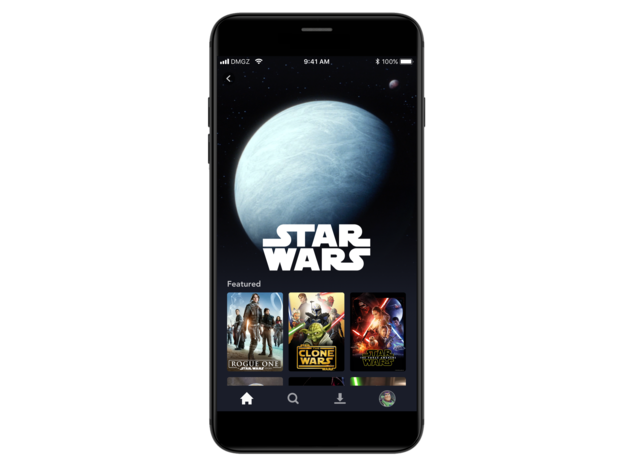 Disney+ Star Wars brand landing page on mobile