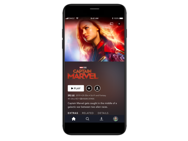 Disney+ title details page on mobile