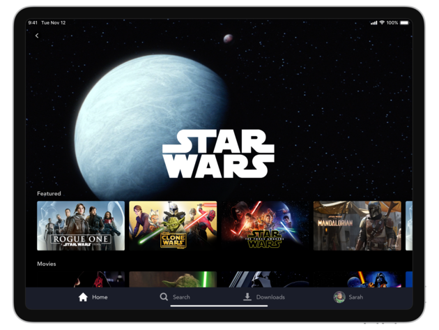 Disney+ Star Wars brand landing page on tablet