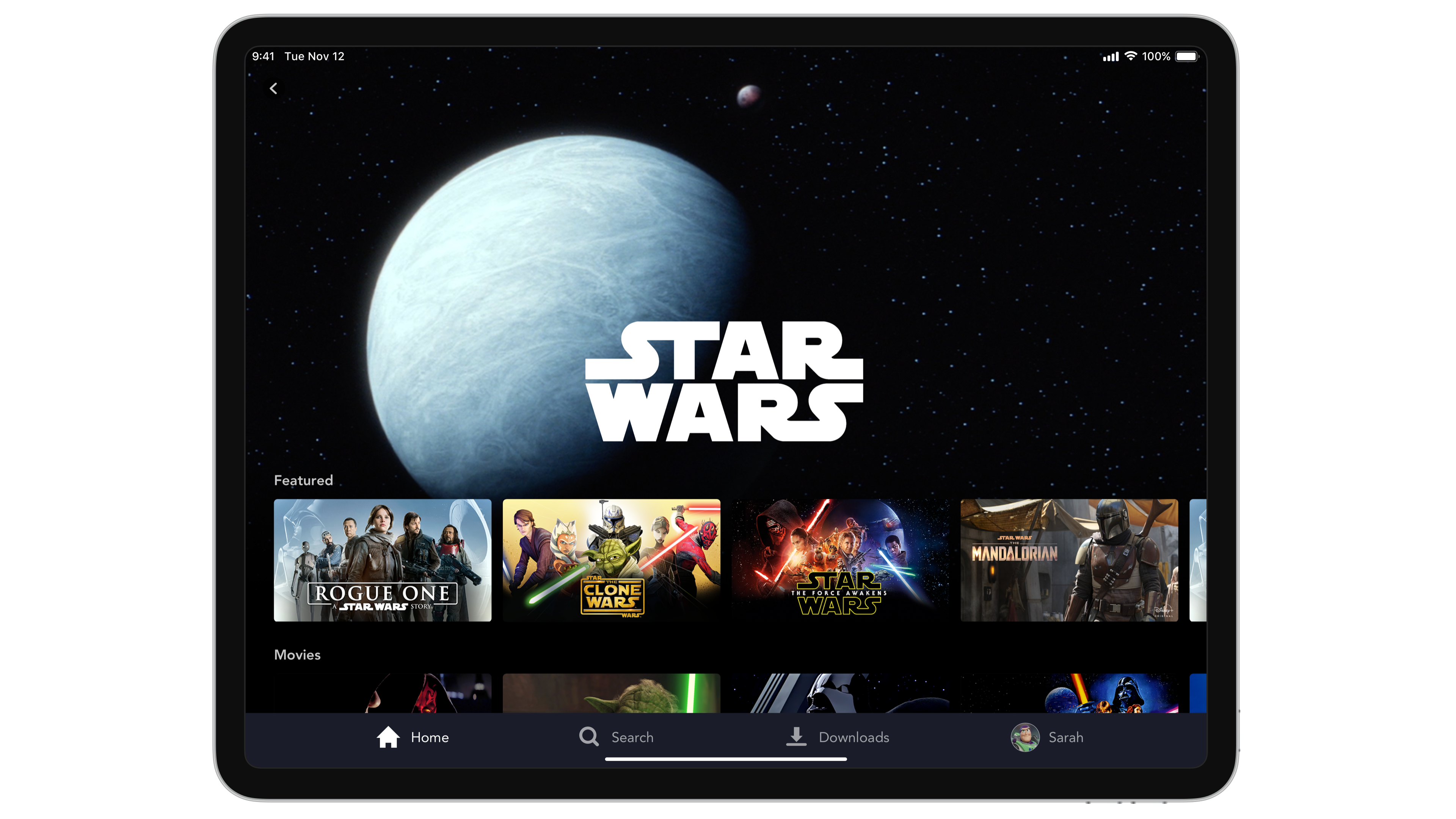 Disney+ Star Wars page on tablet