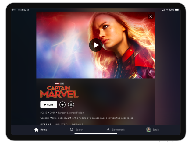 Disney+ title details page on tablet