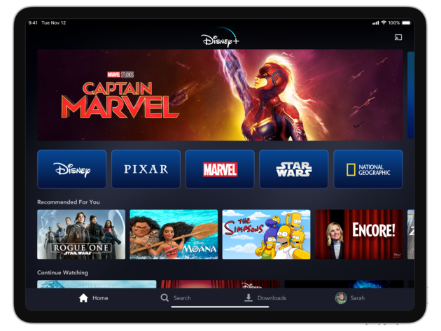 Disney+ home page on tablet