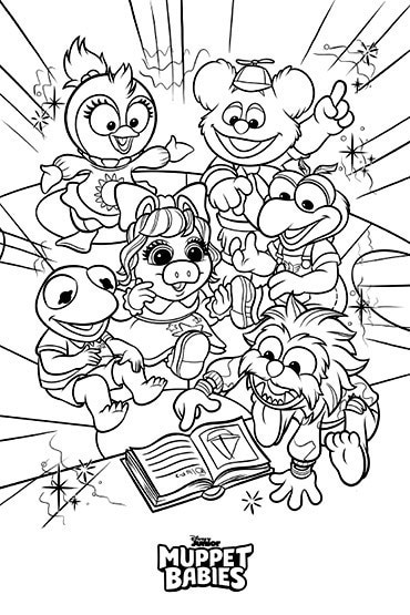 Muppet Babies Story Time Colouring Sheet
