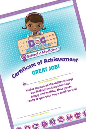 Doc McStuffins School of Medicine Certificate of Achievement ...