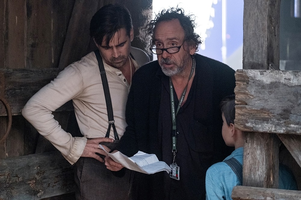 Colin Farrell and Tim Burton on the set of Dumbo