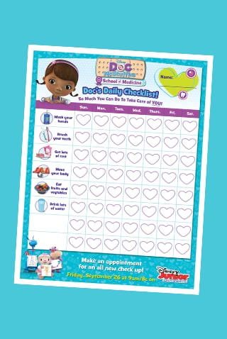Doc McStuffins School of Medicine Doc's Daily Checklist - SEA