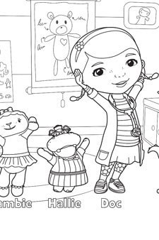Doc McStuffins School of Medicine Colouring Page