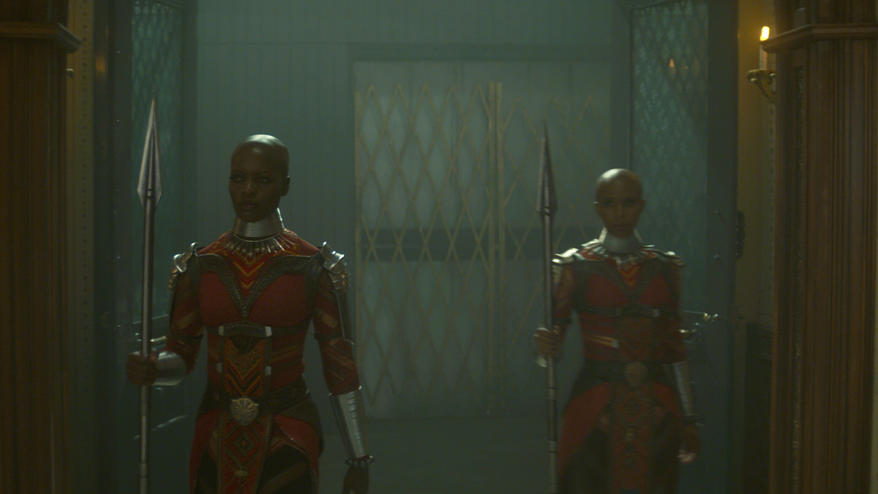 (L-R): Ayo (Florence Kasumba) and Yama (Zola Williams) in Marvel Studios' THE FALCON AND THE WINTER SOLDIER exclusively on Disney+. Photo courtesy of Marvel Studios. ©Marvel Studios 2021. All Rights Reserved.
