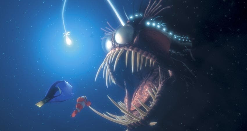 """Dory and Marlin gets spooked by a scary looking fish in the animated movie """"Finding Nemo"""""""