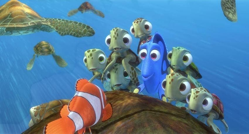 """Dory and the sea turtles listening to Marlin's story in the animated movie """"Finding Nemo"""""""