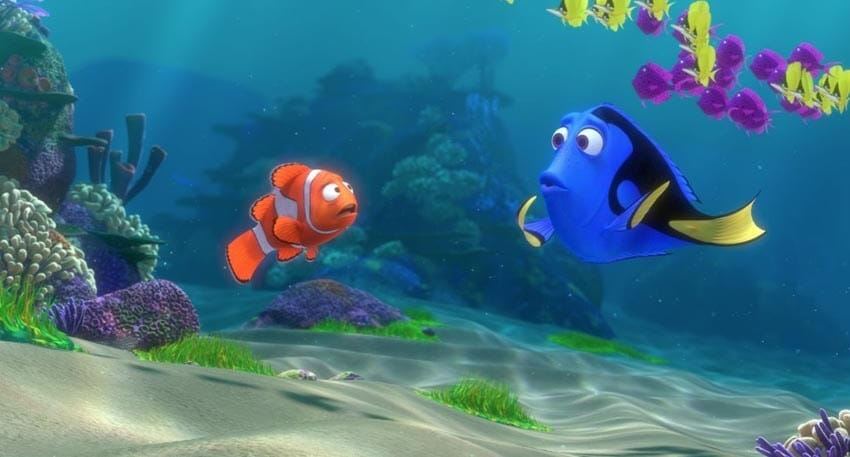 """Dory and Marlin talking in the animated movie """"Finding Nemo"""""""