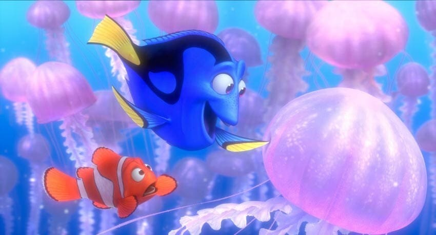 """Dory, Marlin and the jellyfish in the animated movie """"Finding Nemo"""""""