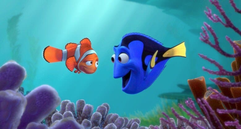 Dory and Marlin in a coral reef talking to each other