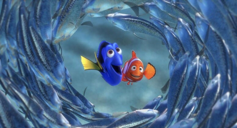 Dory and Marlin surrounded by fish