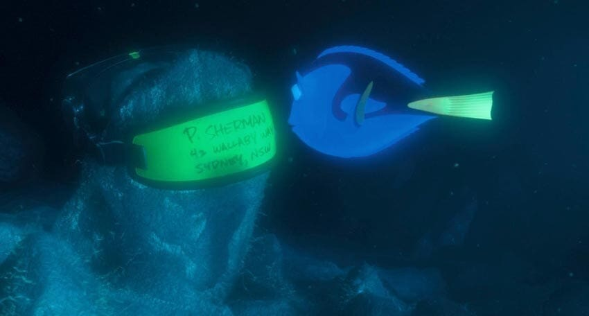 """Dory reading the address on a mask in the animated movie """"Finding Nemo"""""""