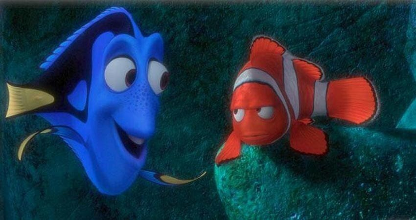 """Dory telling Nemo to """"just keep swimming"""" in the animated movie """"Finding Nemo"""""""