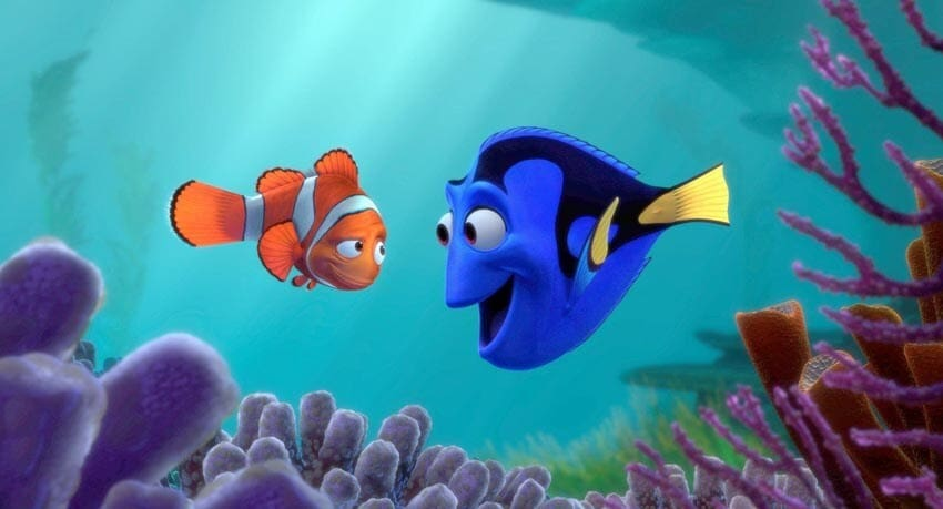 """Dory talking to Marlin in the animated movie """"Finding Nemo"""""""