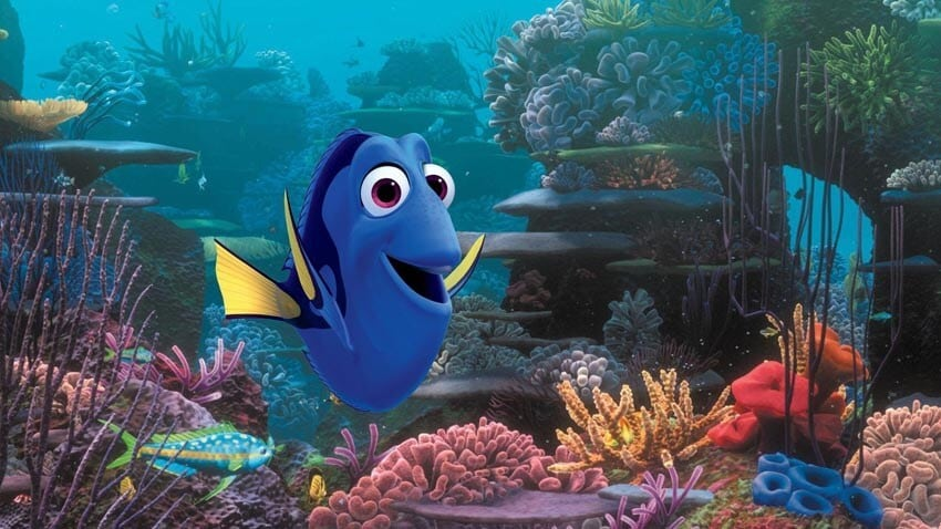 """Dory swimming in a coral reef in the animated movie """"Finding Nemo"""""""