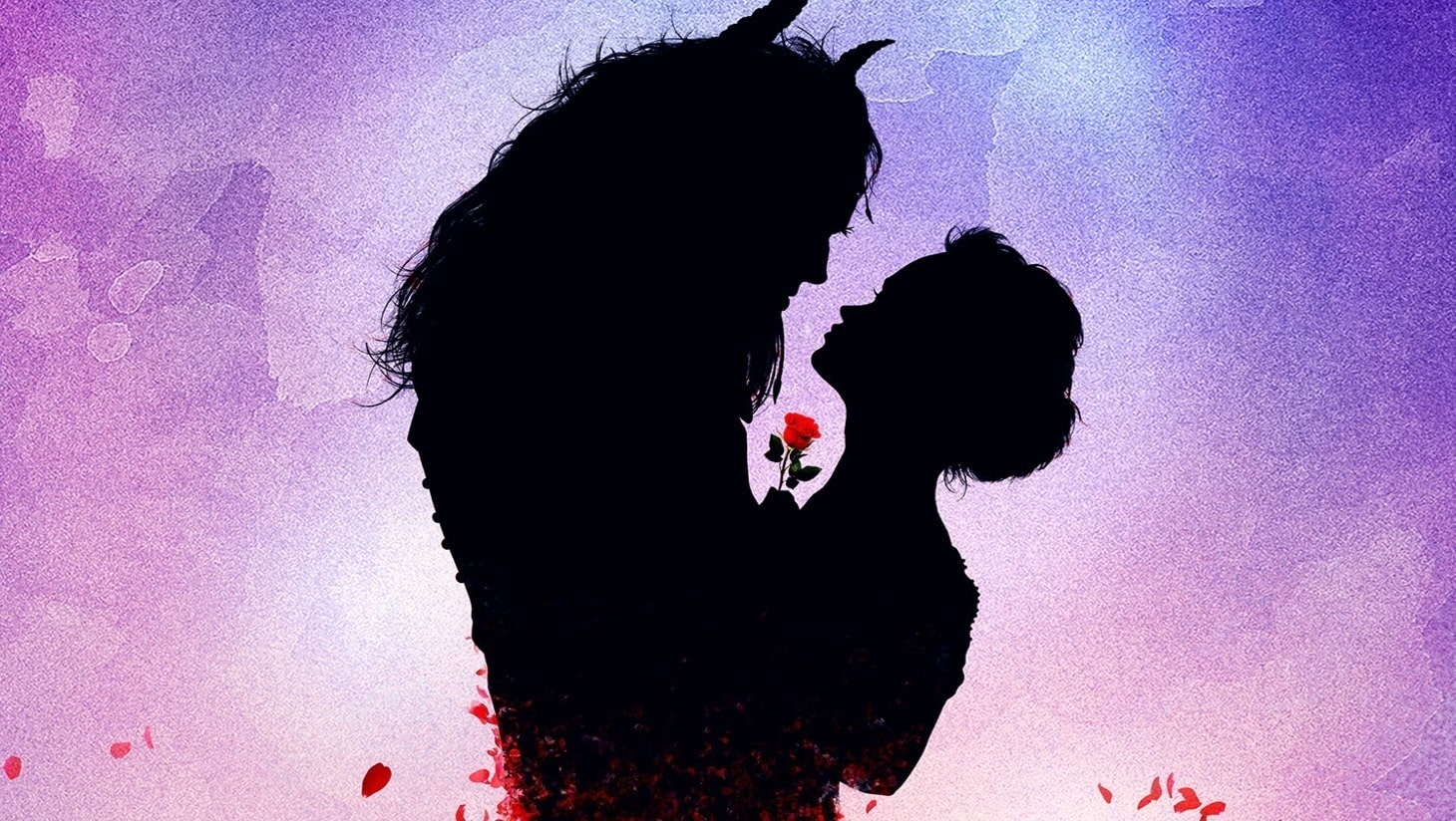 Belle and Beast silhouetted holding a red rose