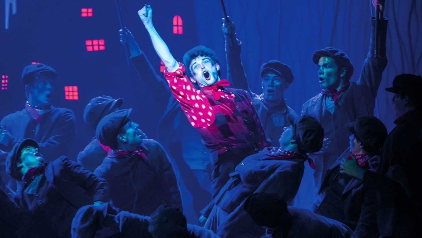An actor performing on stage in Mary Poppins the Musical