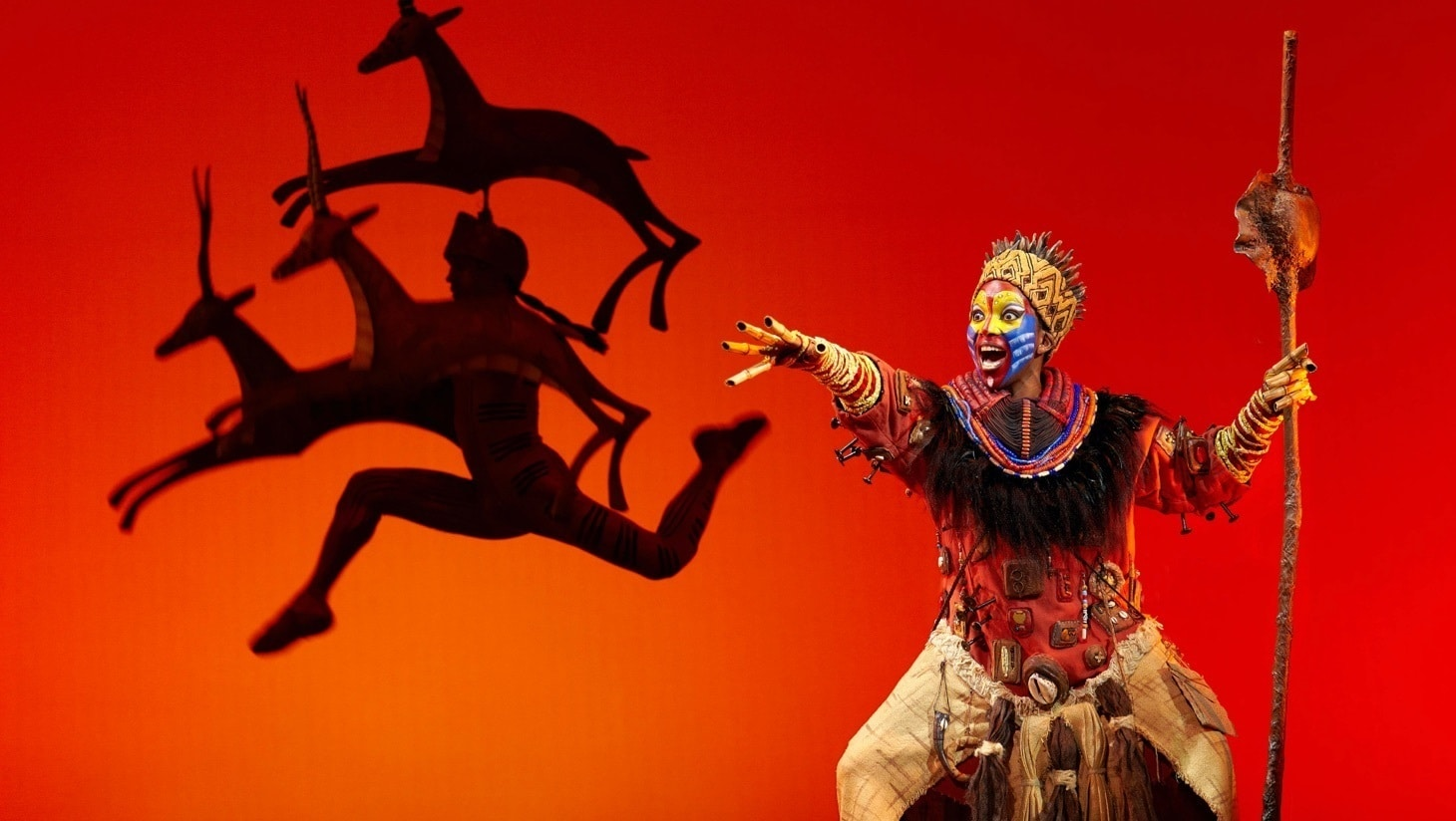Rafiki performing on stage during The Lion King London