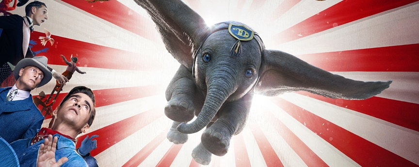 Colin Farrell, Michael Keaton, Danny DeVito, Eva Green, Disney a Tim Burton Film Dumbo; in real 3d March 29 and in Imax Poster of Dumbo flying over the cast