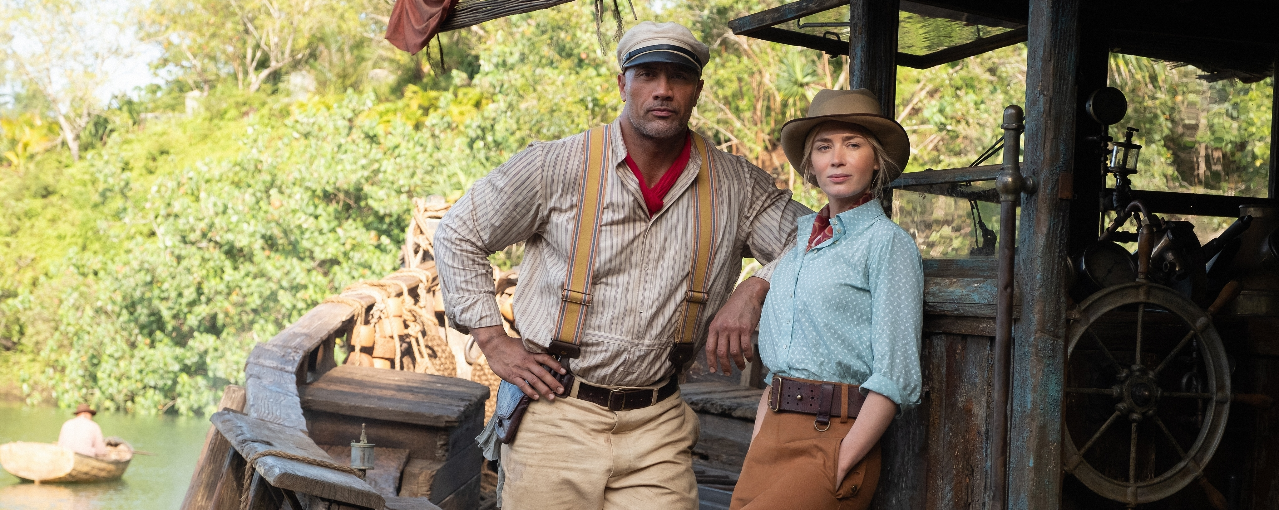 Emily Blunt and Dwayne Johnson Aboard La Quila in Disney's Jungle Cruise