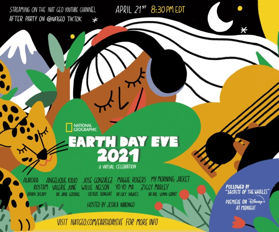 Poster for Earth Day Eve 2021 on National Geographic including an illustration of a woman wearing headphones next to a guitar, a cheetah, and mountains