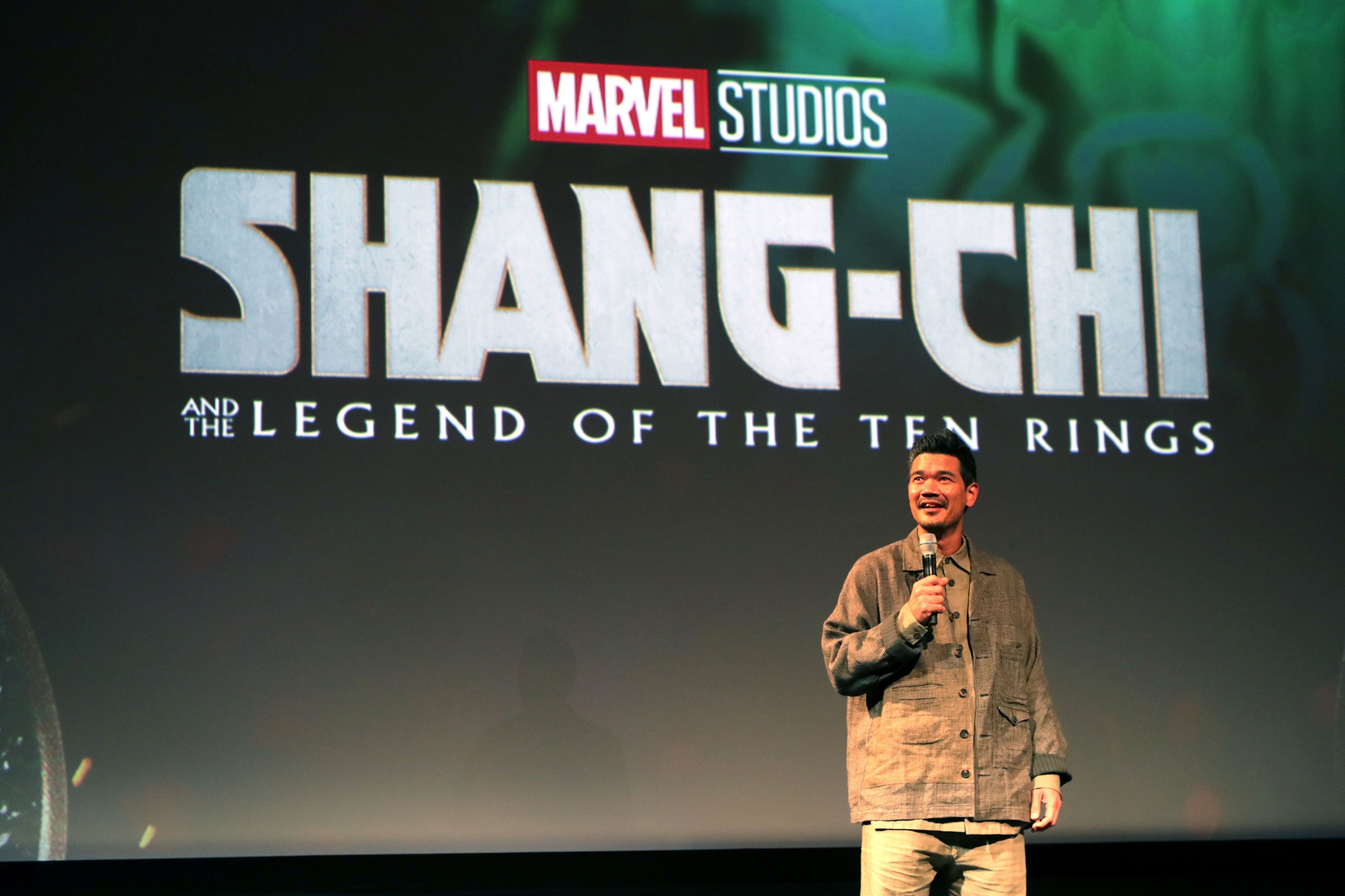 Director Destin Daniel Cretton surprises an audience at Hollywood's El Capitan Theatre at a screening of Marvel Studios' Shang-Chi and the Legend of the Ten Rings