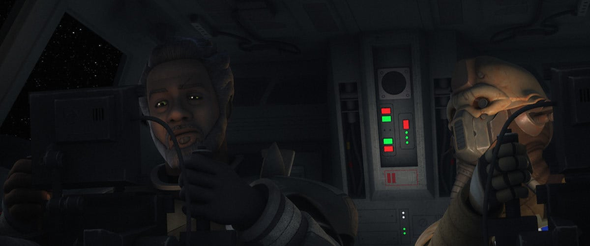 "Edrio Two Tubes and Saw Gerrera as depicted in ""Star Wars: Rebels"""