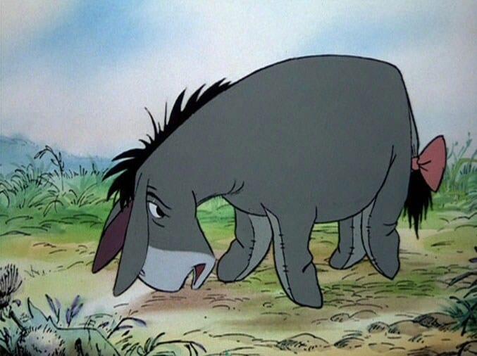 Eeyore with a bow on his tail.