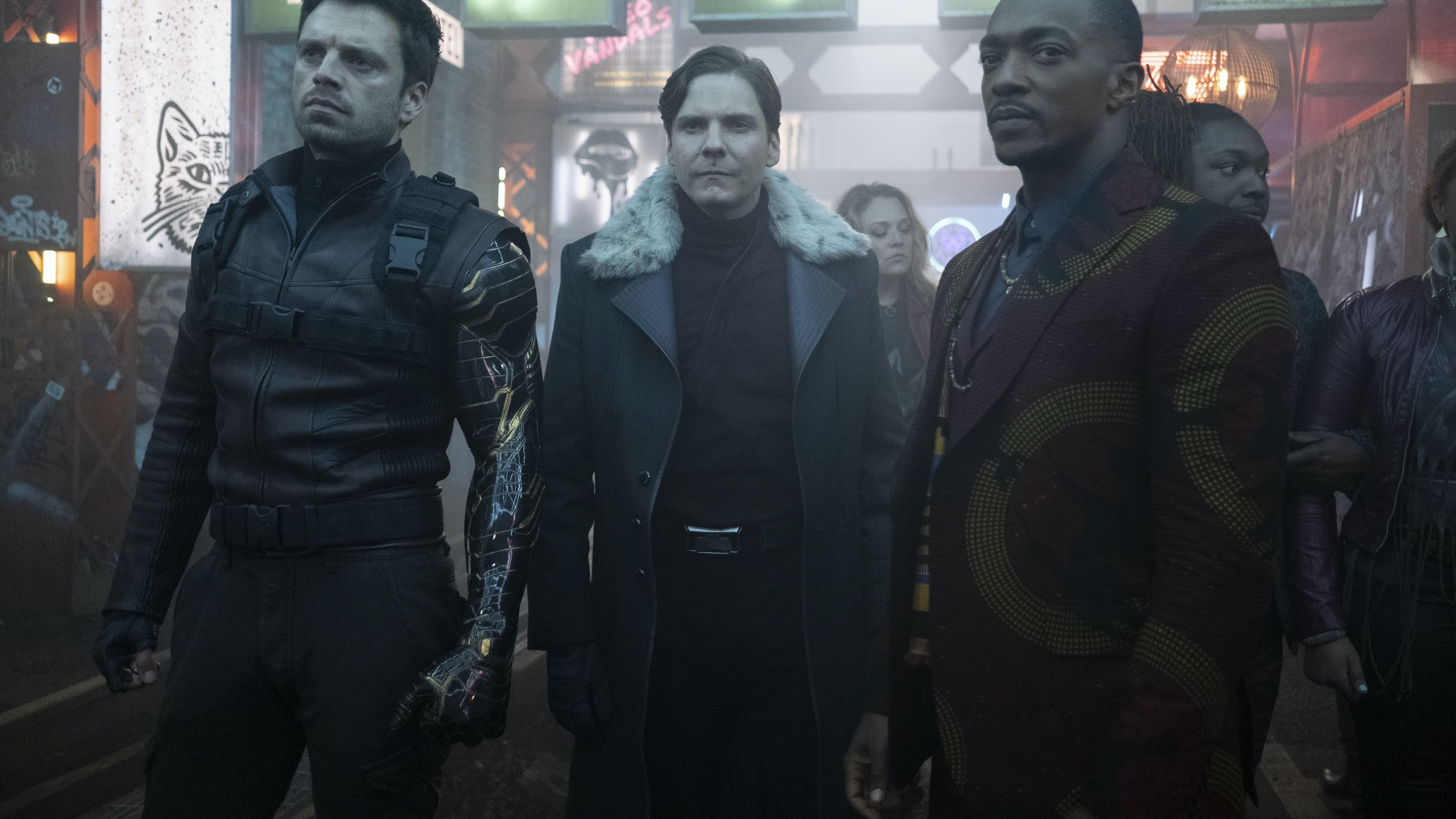 (L-R): Winter Soldier/Bucky Barnes (Sebastian Stan), Zemo (Daniel Brühl) and Falcon/Sam Wilson (Anthony Mackie) in Marvel Studios' THE FALCON AND THE WINTER SOLDIER exclusively on Disney+. Photo by Chuck Zlotnick. ©Marvel Studios 2021. All Rights Reserved.