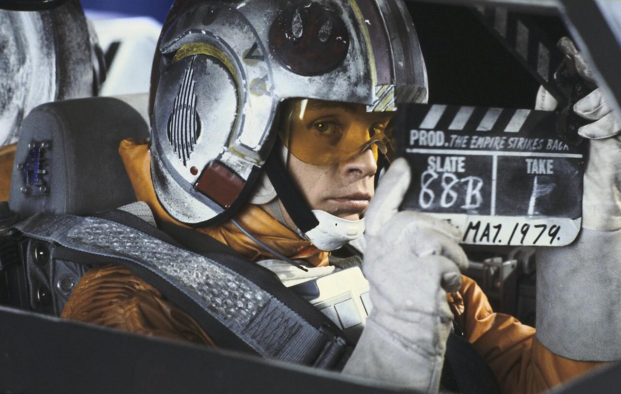 Mark Hamill nas filmagens de O Império Contra-Ataca