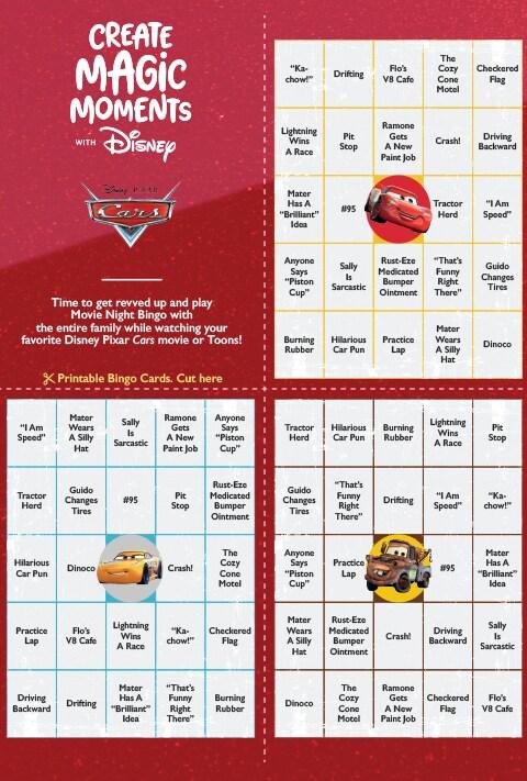 Cars Bingo activity sheet