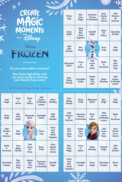 Frozen Bingo activity sheet