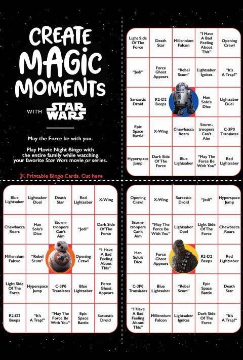 Star Wars Bingo activity sheet